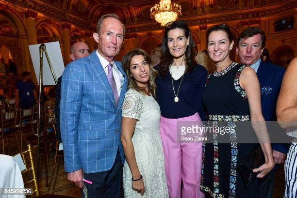 Mark Gilbertson Guest Jennifer Creel and Alexia Hamm Ryan attend the Dennis Basso Spring/Summer 2018 Runway Show during New York Fashion Week at The...