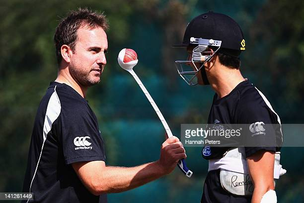 Mark Gillespie and Trent Boult train in the nets at Seddon Park on March 14, 2012 in Hamilton, New Zealand.
