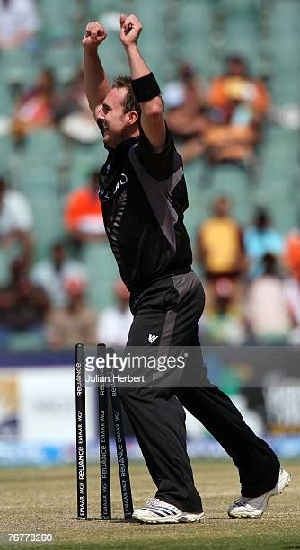 Mark Gillespie of New Zealand celebrates the wicket of Ajit Agarkar of India at The Wanderers Cricket Ground during The ICC World Twenty20...