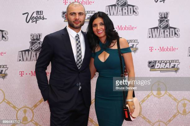 Mark Giordano of the Calgary Flames and guest attend the 2017 NHL Awards at TMobile Arena on June 21 2017 in Las Vegas Nevada