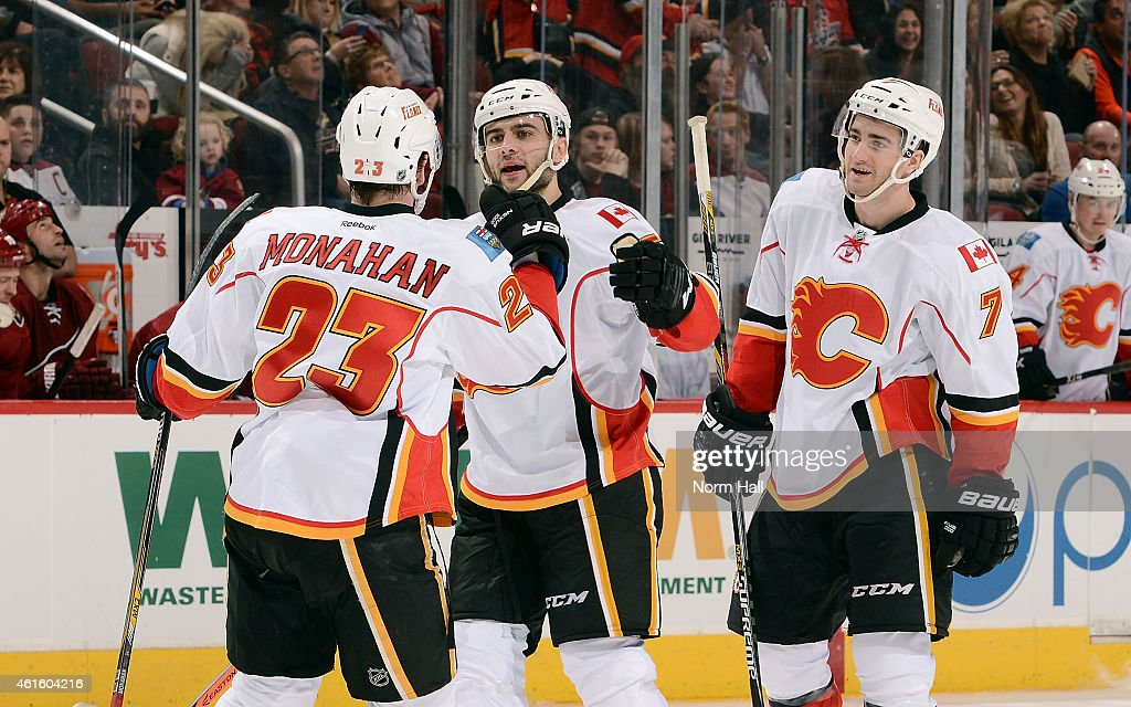 Mark Giordano #5 of the Calgary Flames (C) celebrates with teammates Sean Monahan #23 and T.J. Brodie #7 after his third period goal against the Arizona Coyotes at Gila River Arena on January 15, 2015 in Glendale, Arizona.