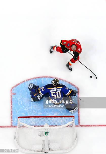 Mark Giordano of the Calgary Flames competes against Jordan Binnington of the St Louis Blues in the Bud Light NHL Save Streak during the 2020 NHL...
