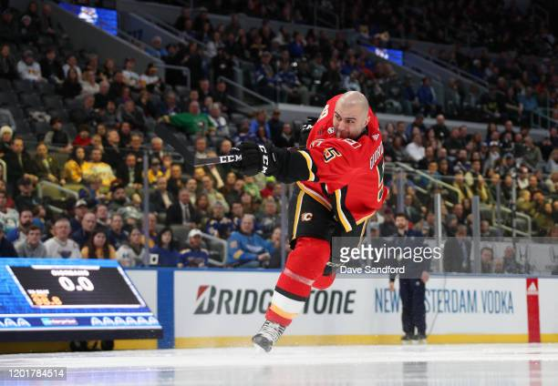 Mark Giordano of the Calgary Flames competes in the Enterprise NHL Hardest Shot event as part of the 2020 NHL AllStar Skills competition at...