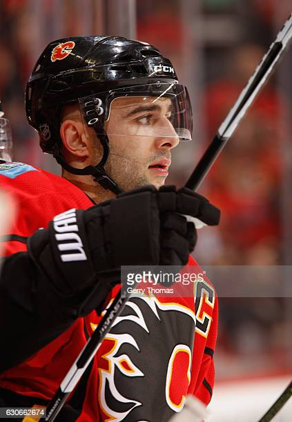 Mark Giordano of the Calgary Flames hops on the ice against the Anaheim Ducks at Scotiabank Saddledome on December 29 2016 in Calgary Alberta Canada