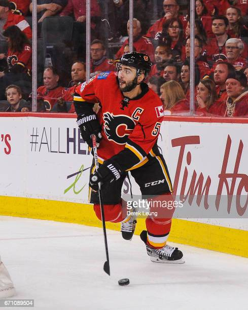 Mark Giordano of the Calgary Flames in action against the Anaheim Ducks in Game Three of the Western Conference First Round during the 2017 NHL...
