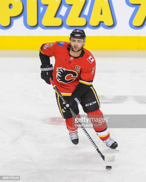 Mark Giordano of the Calgary Flames in action against the Winnipeg Jets during an NHL game at Scotiabank Saddledome on October 7 2017 in Calgary...