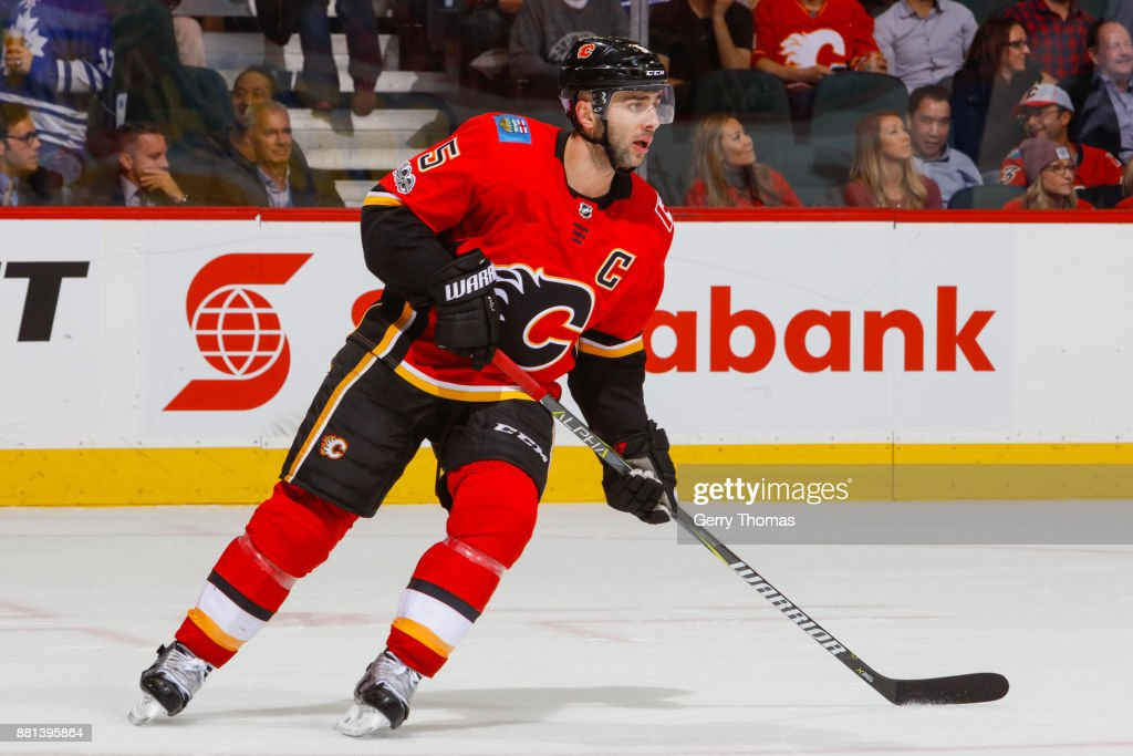 Mark Giordano #5 of the Calgary Flames in an NHL game against the Toronto Maple Leafs at the Scotiabank Saddledome on November 28, 2017 in Calgary, Alberta, Canada.