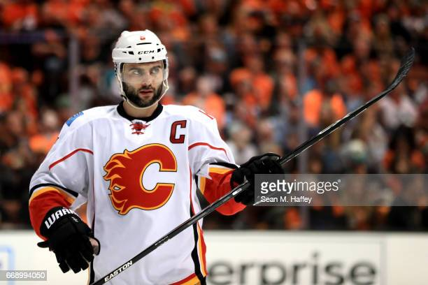 Mark Giordano of the Calgary Flames looks on during the third period of Game Two of the Western Conference First Round against the Anaheim Ducks...
