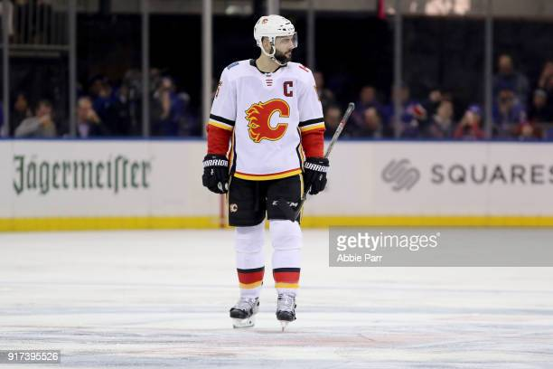Mark Giordano of the Calgary Flames looks on in the second period against the New York Rangers during their game at Madison Square Garden on February...