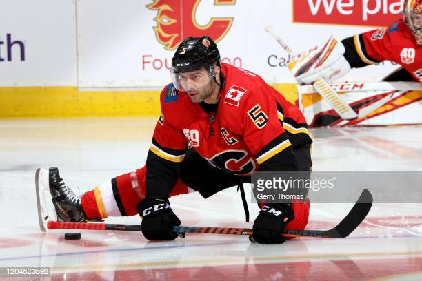 Mark Giordano of the Calgary Flames plays against the San Jose Sharks at Scotiabank Saddledome on February 04 2020 in Calgary Canada