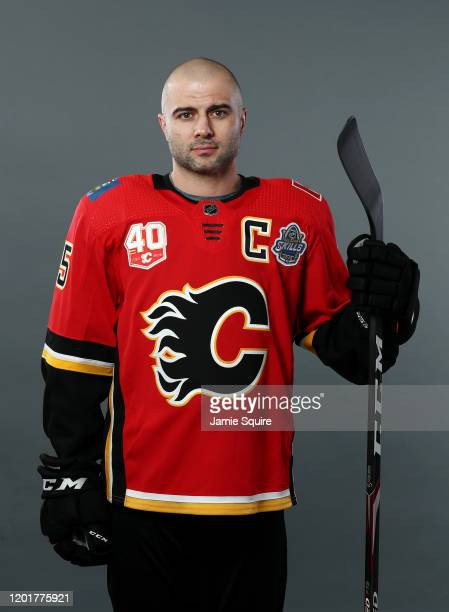 Mark Giordano of the Calgary Flames poses for a portrait ahead of the 2020 NHL AllStar Game at Enterprise Center on January 24 2020 in St Louis...