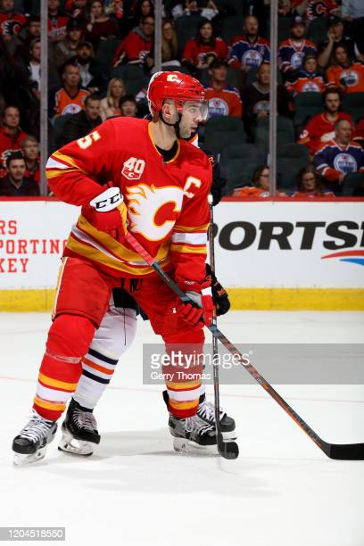 Mark Giordano of the Calgary Flames skates against the Edmonton Oilers at Scotiabank Saddledome on February 01 2020 in Calgary Canada