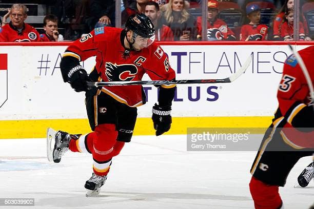 Mark Giordano of the Calgary Flames skates against the Los Angeles Kings during an NHL game at Scotiabank Saddledome on December 31 2015 in Calgary...