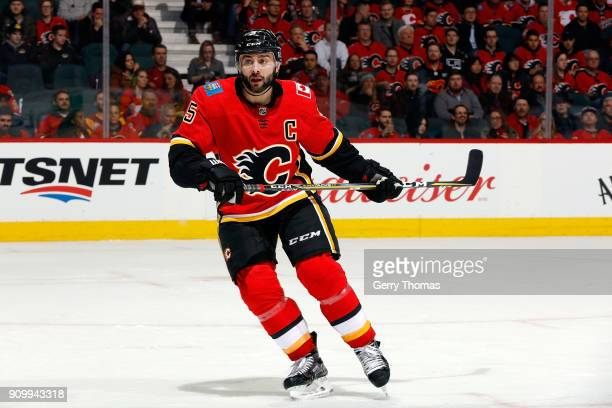 Mark Giordano of the Calgary Flames skates against the Los Angeles Kings during an NHL game on January 24 2018 at the Scotiabank Saddledome in...