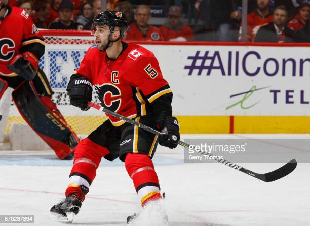 Mark Giordano of the Calgary Flames skates against the Pittsburg Penguins at Scotiabank Saddledome on November 2 2017 in Calgary Alberta Canada
