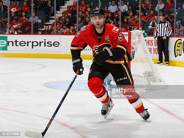 Mark Giordano of the Calgary Flames skates against the San Jose Sharks at Scotiabank Saddledome on March 7 2016 in Calgary Alberta Canada