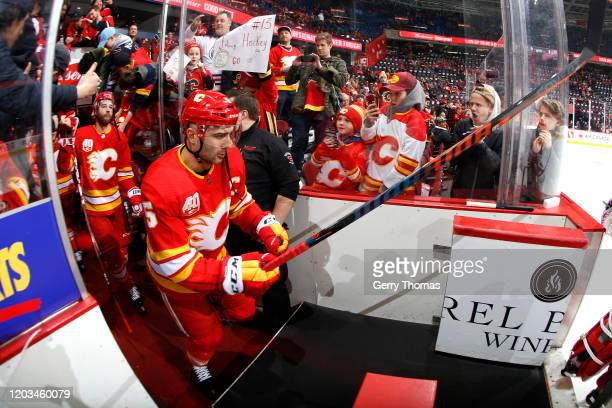 Mark Giordano of the Calgary Flames skates before the game against the Edmonton Oilers at Scotiabank Saddledome on February 01 2020 in Calgary Canada