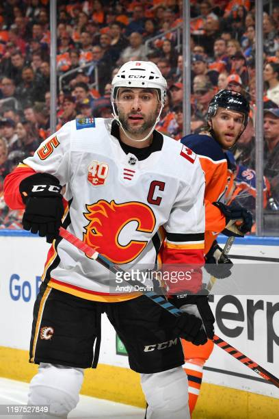 Mark Giordano of the Calgary Flames skates during the game against the Edmonton Oilers on January 29 at Rogers Place in Edmonton Alberta Canada