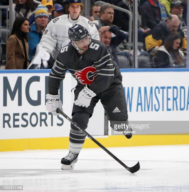 Mark Giordano of the Calgary Flames skates in the game between Atlantic Division v Pacific Division during the 2020 Honda NHL AllStar Game at...