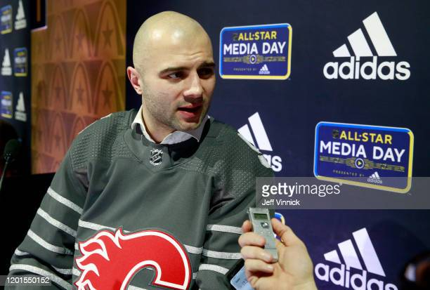 Mark Giordano of the Calgary Flames speaks during the 2020 NHL AllStar media day at the Stifel Theater on January 23 2020 in St Louis Missouri