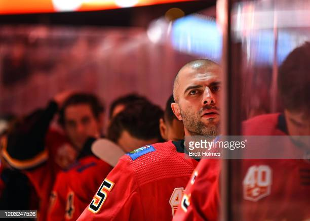 Mark Giordano of the Calgary Flames stands for the national anthems ahead of an NHL game against the St Louis Blues on January 28 2020 at the...