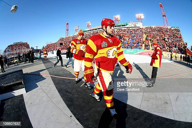 dadba8ea7 Mark Giordano of the Calgary Flames walks off the ice against the Montreal  Canadiens during the