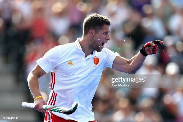 Mark Gleghorne of England celebrates scoring the fifth goal for England during the Hero Hockey World League Semi Final match between England and...