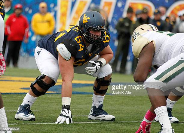 Mark Glowinski of the West Virginia Mountaineers lines up during the game against the Baylor Bears on October 18 2014 at Mountaineer Field in...