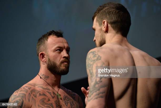 Mark Godbeer of England and Daniel Spitz face off during the UFC 209 weighin at TMobile arena on March 3 2017 in Las Vegas Nevada