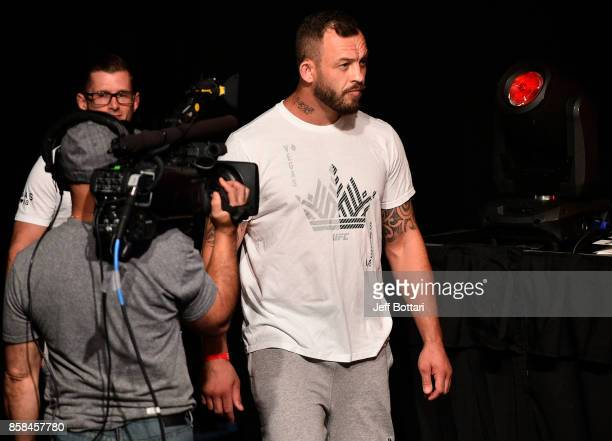Mark Godbeer of England prepares to take the stage during the UFC 216 weighin inside TMobile Arena on October 6 2017 in Las Vegas Nevada