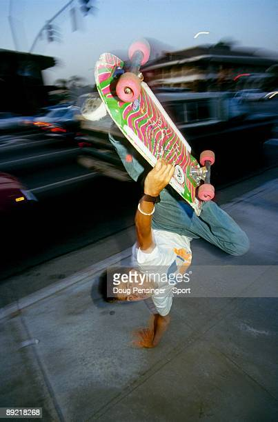 Mark 'Gonz' Gonzalez riding for Vision Skateboards and innovator of street skating does an invert as he takes to the streets in June 1985 in Orange...