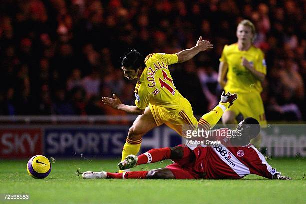 Mark Gonzalez of Liverpool is fouled by Jason Euell of Middlesbrough during the Barclays Premiership match between Middlesbrough and Liverpool at The...