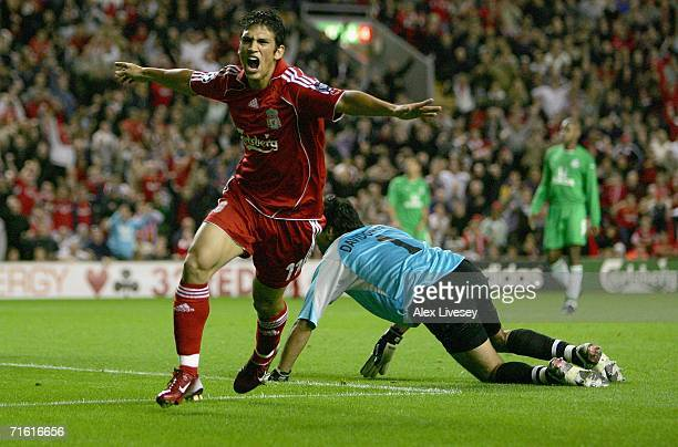 Mark Gonzalez of Liverpool scores his team's second goal past goalkeeper Nir Davidovitch of Maccabi Haifa during the UEFA Champions League third...