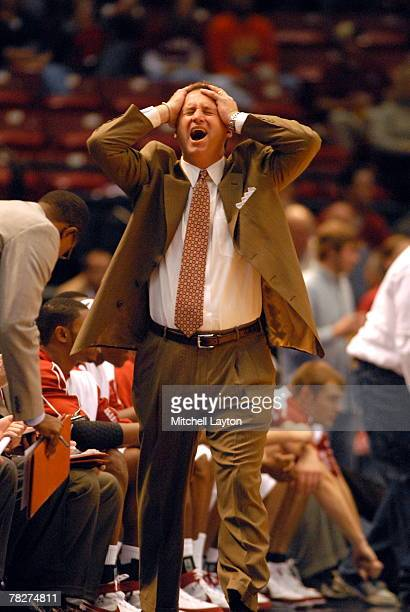 Mark Gottfried, head coach of the Alabama Crimson Tide, during a game against the Georgetown Hoyas in the SEC/Big East Invitational at the...