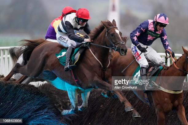 Mark Grant riding Count Meribel clear the last to win The Steel Plate And Sections Novices' Chase at Cheltenham Racecourse on November 16 2018 in...