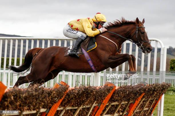 Mark Grant riding Count Meribel in action at Cheltenham racecourse on December 16 2017 in Cheltenham United Kingdom