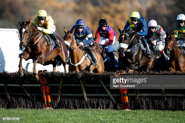 Mark Grant riding Count Meribel on their way to winning The Mitie Events Leisure Novicesâ Hurdle Race at Ascot racecourse on November 25 2017 in...
