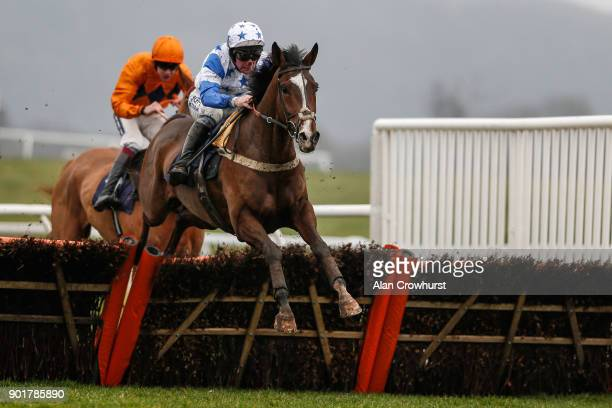 Mark Grant riding Diablo De Rouhet clear the last to win The Coral Download The App Maiden Hurdle Race at Chepstow racecourse on January 6 2018 in...