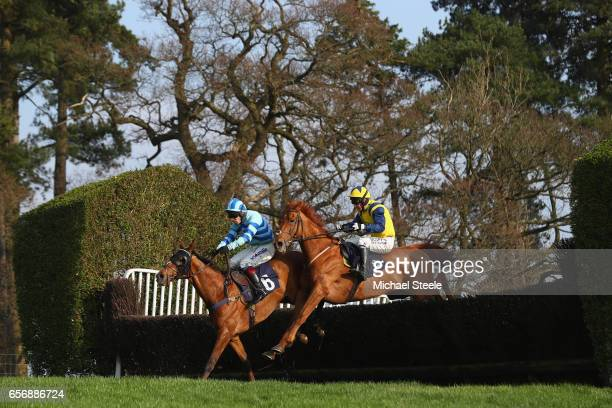 Mark Grant riding Pink Gin alongside Rhys Flint riding Lac Sacre during the ECIC Handicap Steeple Chase race at Chepstow Racecourse on March 23 2017...