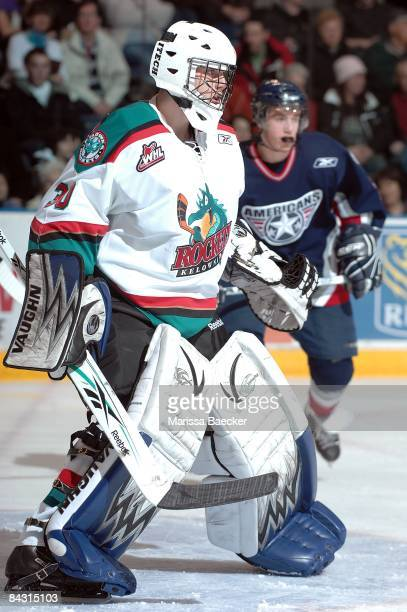 Mark Guggenberger of the Kelowna Rockets makes his debut with the Kelowna Rockets against the TriCity Americans after being traded by the Swift...