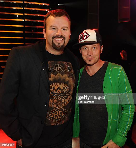 COVERAGE*** Mark Hall And TOBYMAC backstage at The 41st Annual GMA Dove Awards at The Grand Ole Opry House on April 21 2010 in Nashville Tennessee