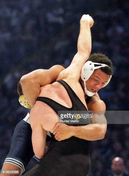 Mark Hall of the Penn State Nittany Lions wrestles Joey Gunther of the Iowa Hawkeyes on February 10 2018 at the Bryce Jordan Center on the campus of...