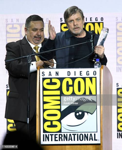 "Mark Hamill accepts the Icon award during the Netflix's ""The Dark Crystal: Age Of Resistance"" Panel during 2019 Comic-Con International at San Diego..."