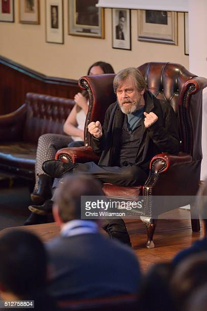 Mark Hamill addresses the Cambridge Union at The Cambridge Union on February 27 2016 in Cambridge Cambridgeshire The Cambridge Union Society has been...