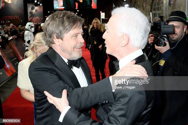 Mark Hamill and Anthony Daniels attend the European Premiere of 'Star Wars The Last Jedi' at Royal Albert Hall on December 12 2017 in London England