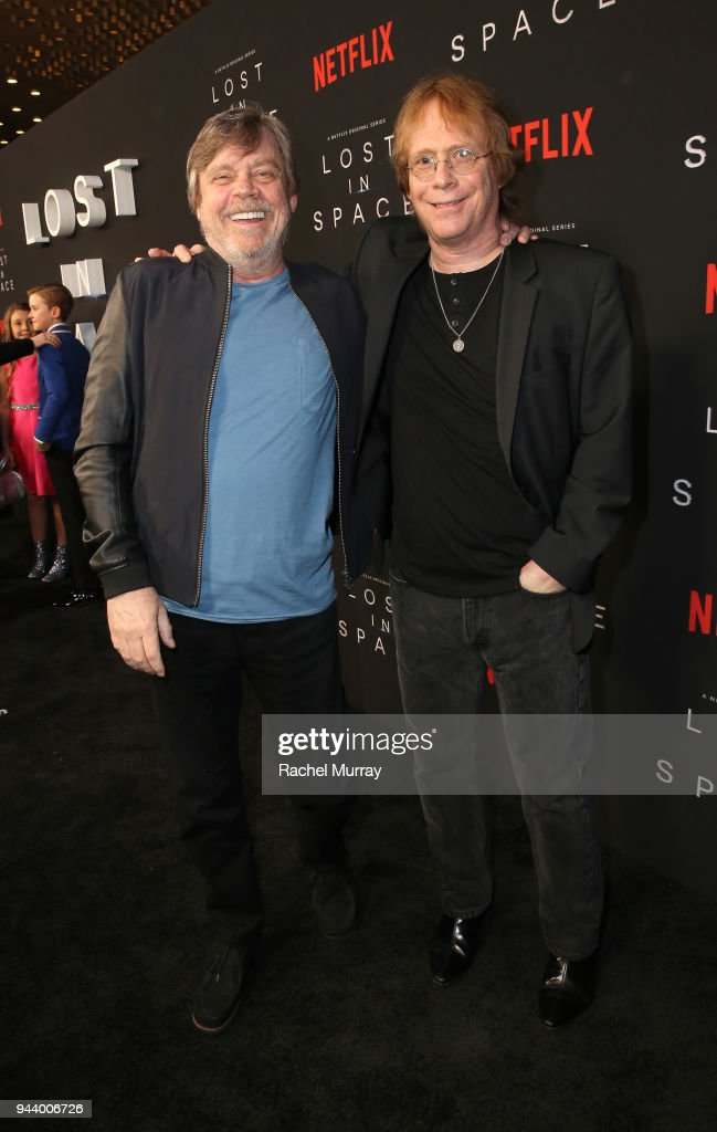 Mark Hamill (L) and Bill Mumy attend Netflix's 'Lost In Space' Los Angeles premiere on April 9, 2018 in Los Angeles, California.