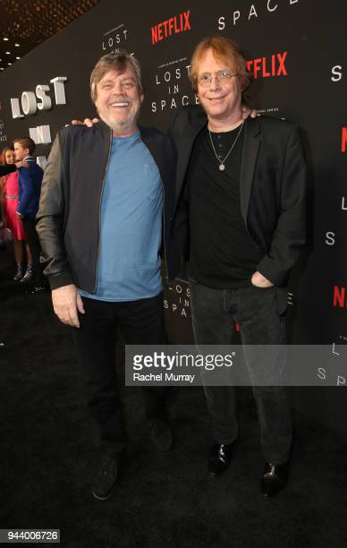 Mark Hamill and Bill Mumy attend Netflix's 'Lost In Space' Los Angeles premiere on April 9 2018 in Los Angeles California