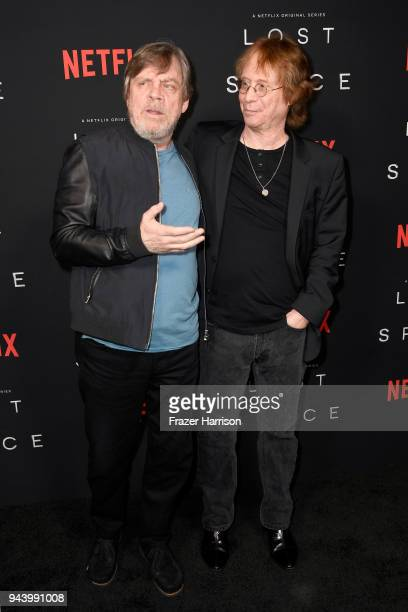 Mark Hamill and Bill Mumy attend the premiere of Netflix's 'Lost In Space' Season 1 at The Cinerama Dome on April 9 2018 in Los Angeles California