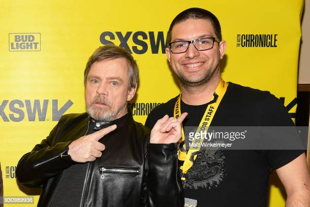 Mark Hamill and Blake Kammerdiener attend the 'The Director and The Jedi' Premiere 2018 SXSW Conference and Festivals at Paramount Theatre on March...