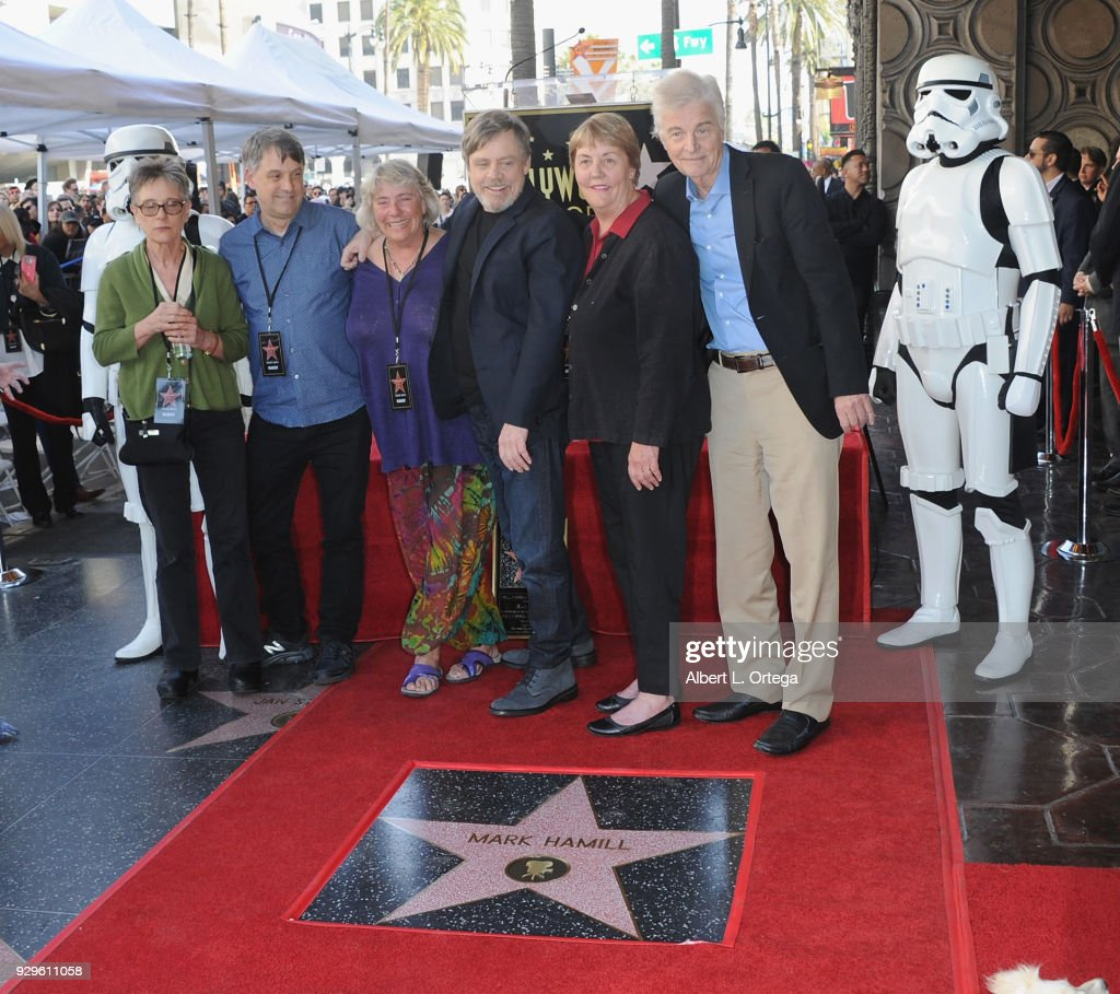 Mark Hamill and brothers and sisters participate in the Mark Hamill Star Ceremony held On The Hollywood Walk Of Fame on March 8, 2018 in Hollywood, California.